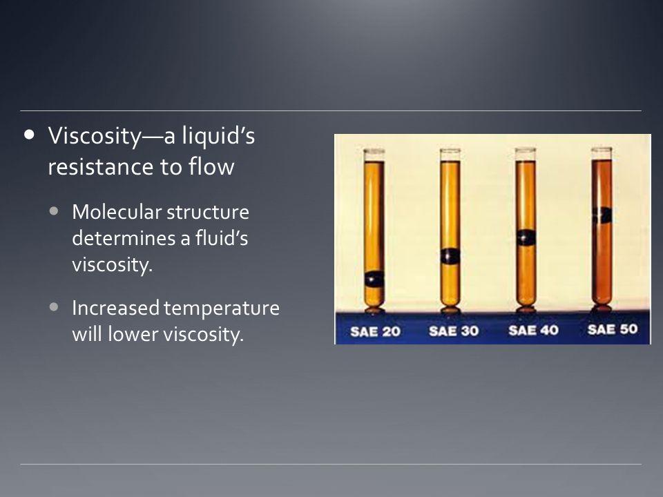 Viscosity—a liquid's resistance to flow Molecular structure determines a fluid's viscosity.