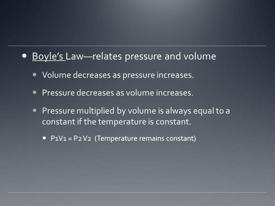 Boyle's Law—relates pressure and volume Volume decreases as pressure increases. Pressure decreases as volume increases. Pressure multiplied by volume