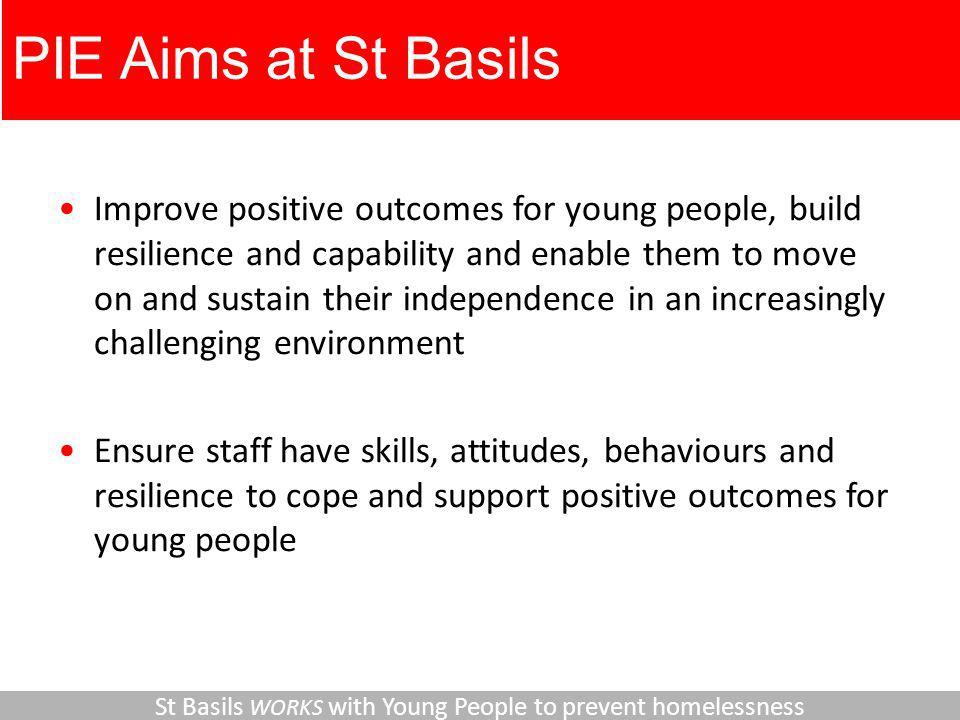 PIE Aims at St Basils Improve positive outcomes for young people, build resilience and capability and enable them to move on and sustain their independence in an increasingly challenging environment Ensure staff have skills, attitudes, behaviours and resilience to cope and support positive outcomes for young people St Basils WORKS with Young People to prevent homelessness