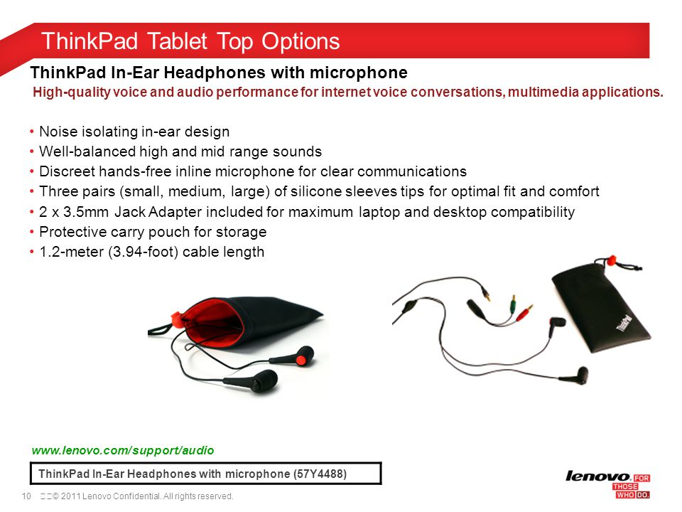 10© 2011 Lenovo Confidential. All rights reserved. ThinkPad Tablet Top Options ThinkPad In-Ear Headphones with microphone (57Y4488) www.lenovo.com/s