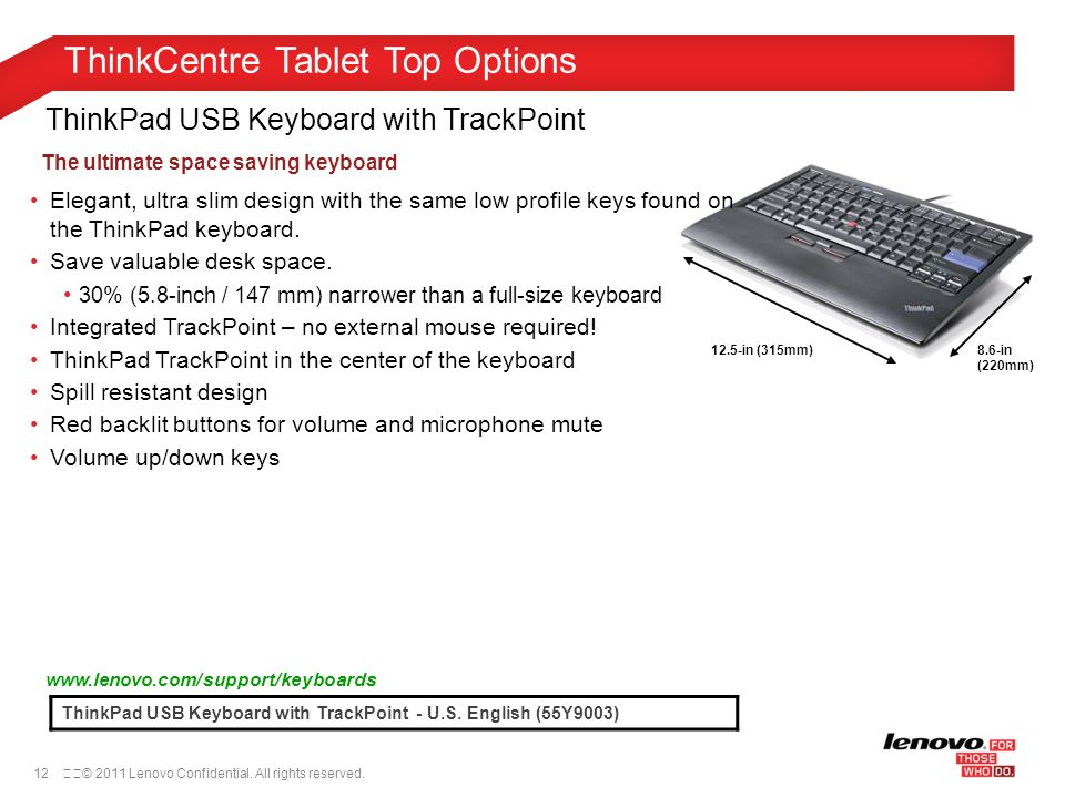 12© 2011 Lenovo Confidential. All rights reserved. ThinkPad USB Keyboard with TrackPoint ThinkPad USB Keyboard with TrackPoint - U.S. English (55Y90