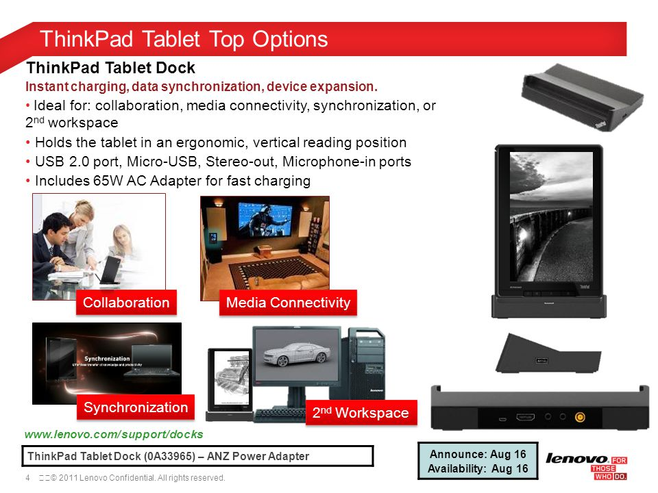 4© 2011 Lenovo Confidential. All rights reserved. ThinkPad Tablet Top Options www.lenovo.com/support/docks ThinkPad Tablet Dock (0A33965) – ANZ Powe