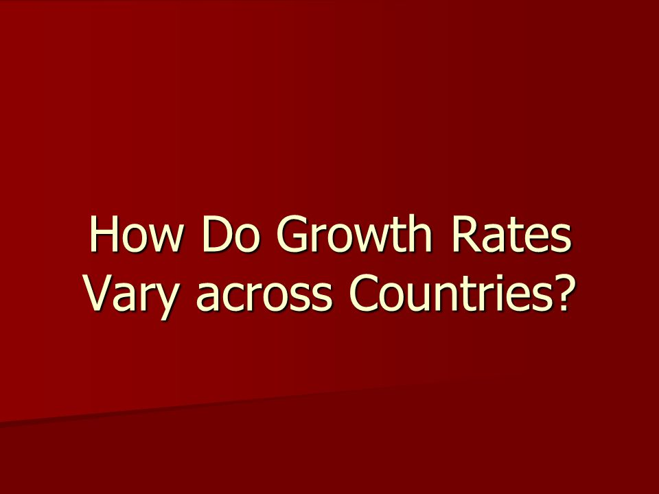 How Do Growth Rates Vary across Countries