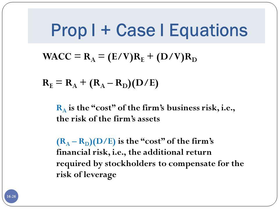 """16-26 Prop I + Case I Equations WACC = R A = (E/V)R E + (D/V)R D R E = R A + (R A – R D )(D/E) R A is the """"cost"""" of the firm's business risk, i.e., th"""