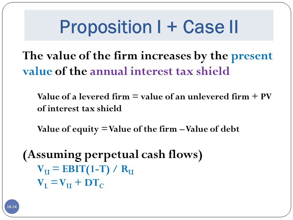 16-34 Proposition I + Case II The value of the firm increases by the present value of the annual interest tax shield Value of a levered firm = value o