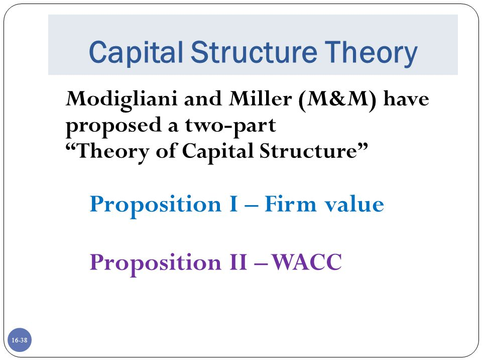 16-39 Capital Structure Theory Proposition II – WACC The Weighted Average Cost of Capital (WACC) of the firm is NOT influenced by the capital structure.