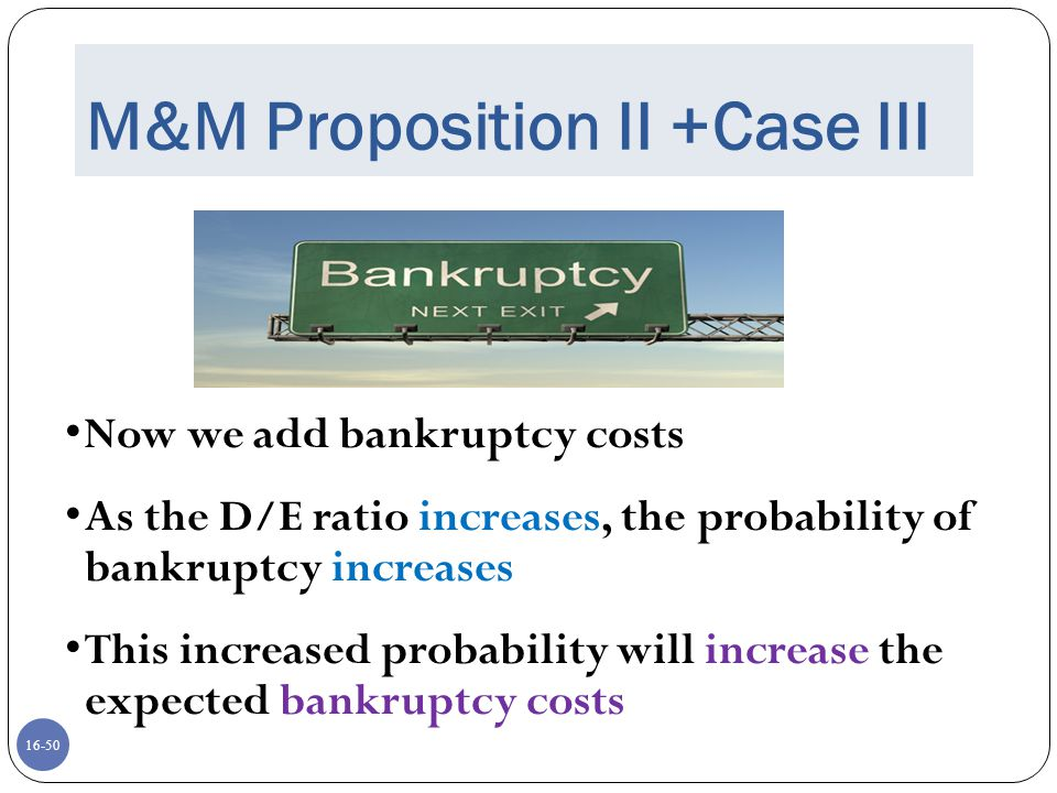 16-50 M&M Proposition II +Case III Now we add bankruptcy costs As the D/E ratio increases, the probability of bankruptcy increases This increased prob