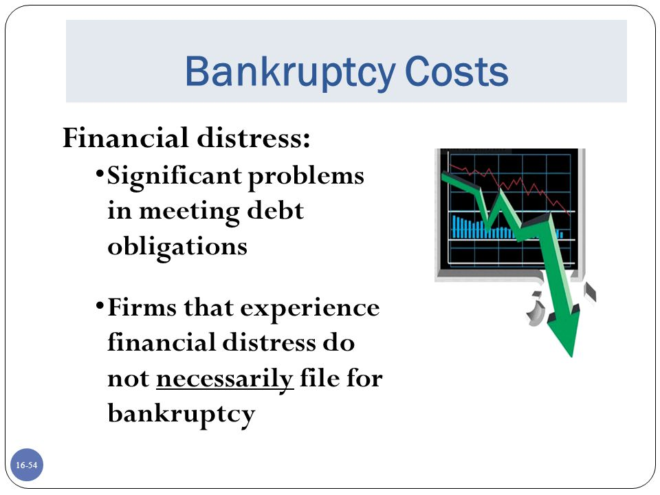 16-54 Bankruptcy Costs Financial distress: Significant problems in meeting debt obligations Firms that experience financial distress do not necessaril