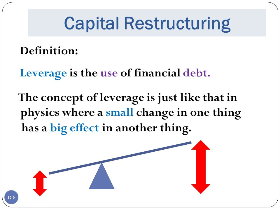 16-6 Capital Restructuring Definition: Leverage is the use of financial debt. The concept of leverage is just like that in physics where a small chang
