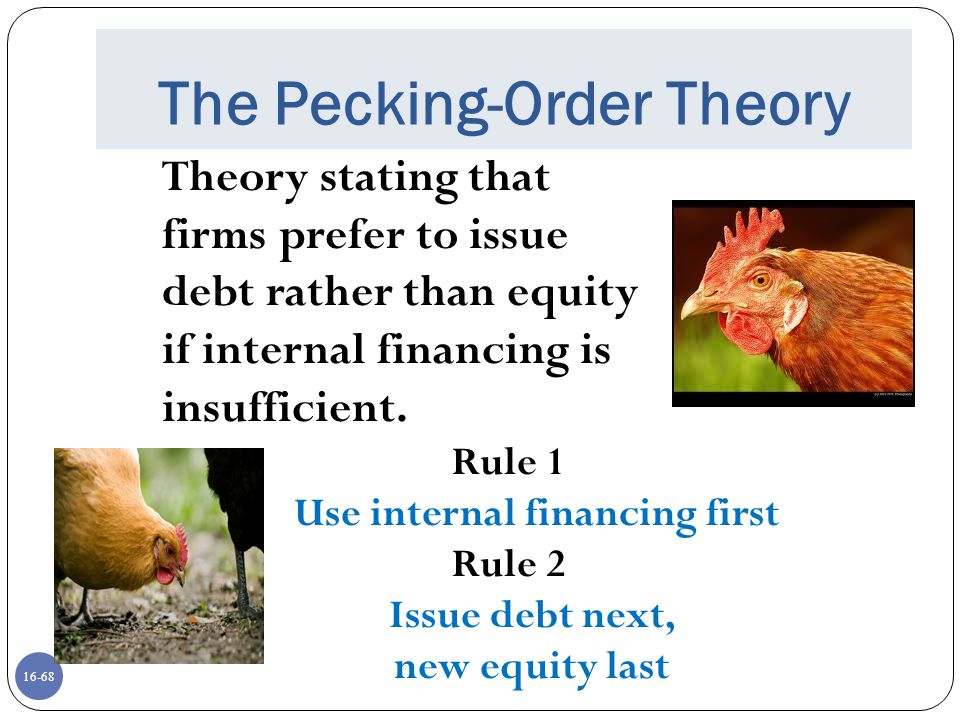 16-68 The Pecking-Order Theory Theory stating that firms prefer to issue debt rather than equity if internal financing is insufficient. Rule 1 Use int