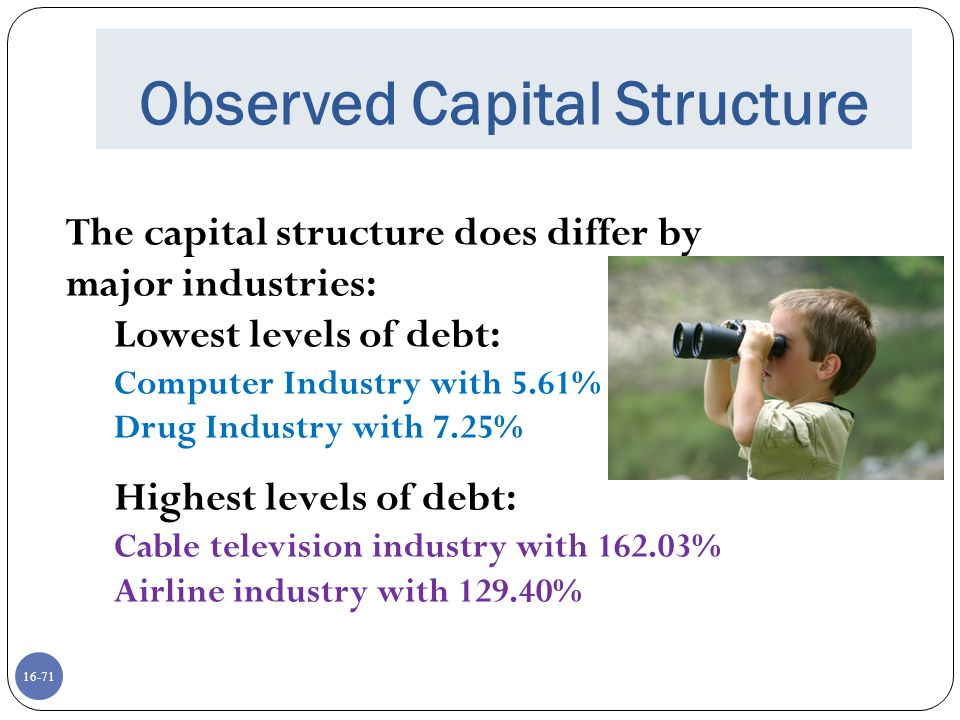 16-71 Observed Capital Structure The capital structure does differ by major industries: Lowest levels of debt: Computer Industry with 5.61% Drug Indus