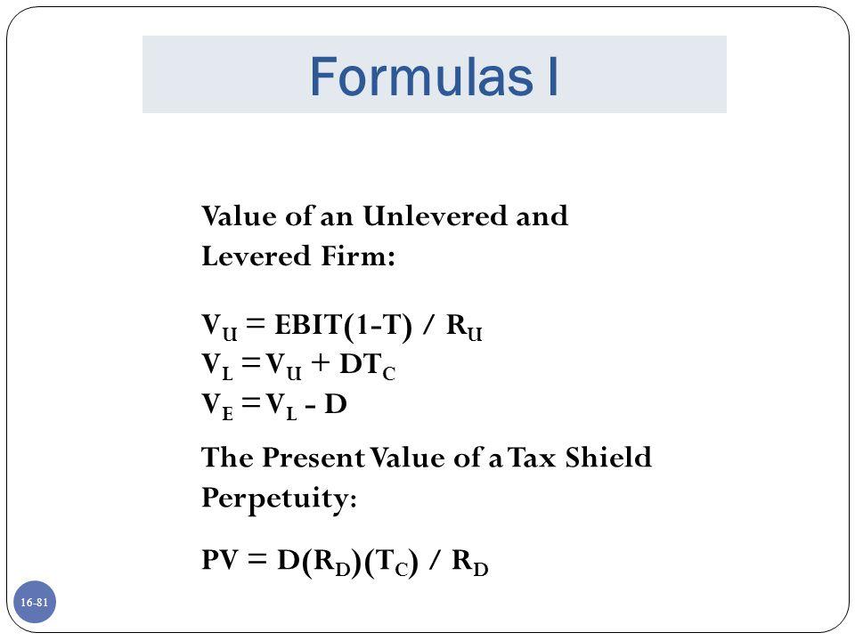 16-82 Formulas II CAPM: R A = R f +  A (R M – R f ) If we assume debt is riskless (R D = R f ) then, R E = R f +  A (1+D/E)(R M – R f ) If we let  A (1+D/E) =  E then, the CAPM becomes: R E = R f +  E (R M – R f )