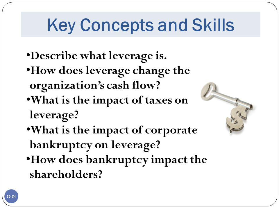16-84 Key Concepts and Skills Describe what leverage is. How does leverage change the organization's cash flow? What is the impact of taxes on leverag