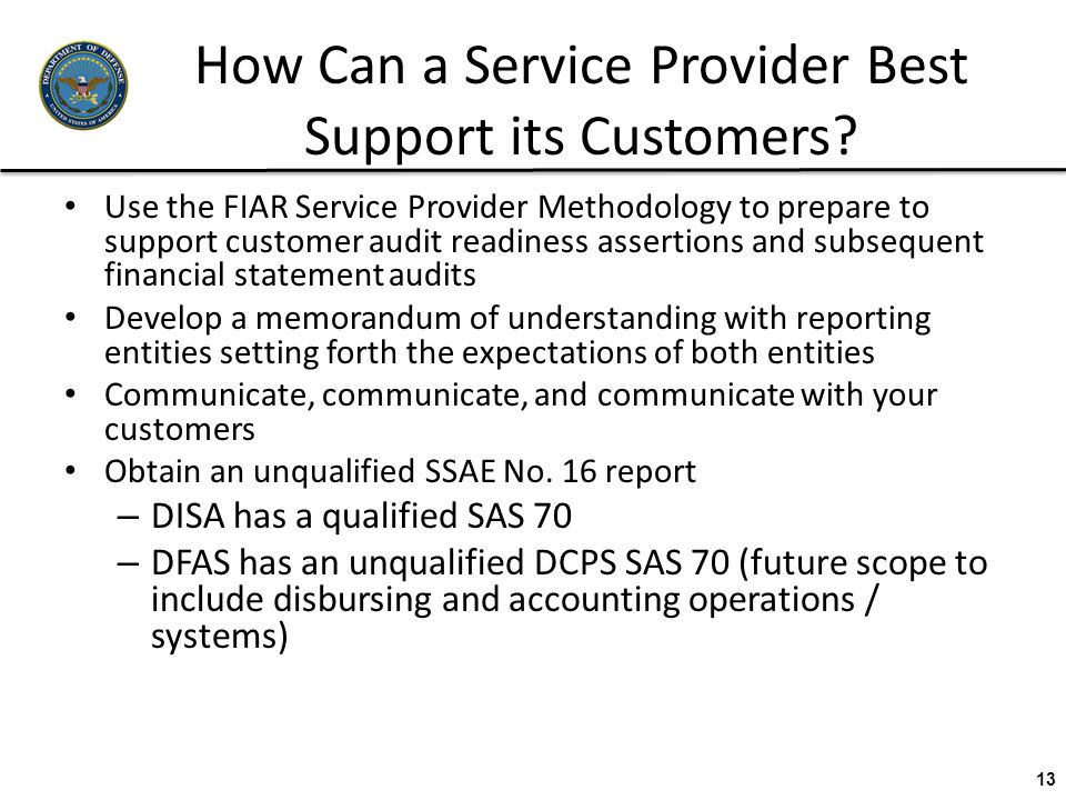 How Can a Service Provider Best Support its Customers? Use the FIAR Service Provider Methodology to prepare to support customer audit readiness assert
