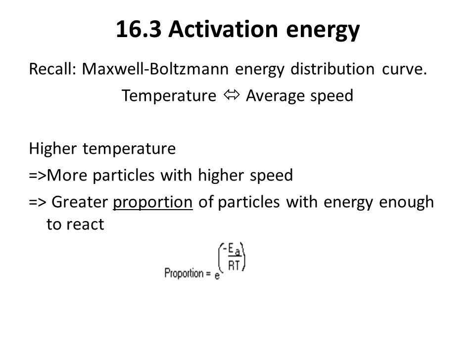 16.3 Activation energy Recall: Maxwell-Boltzmann energy distribution curve.