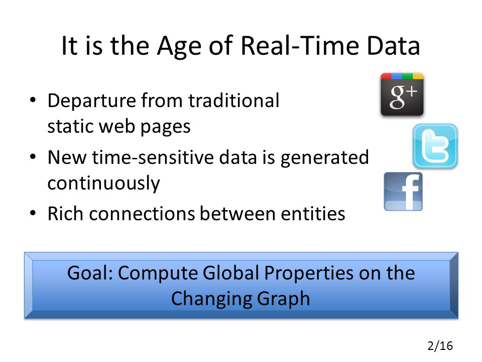It is the Age of Real-Time Data Departure from traditional static web pages New time-sensitive data is generated continuously Rich connections between entities 2/16 Goal: Compute Global Properties on the Changing Graph