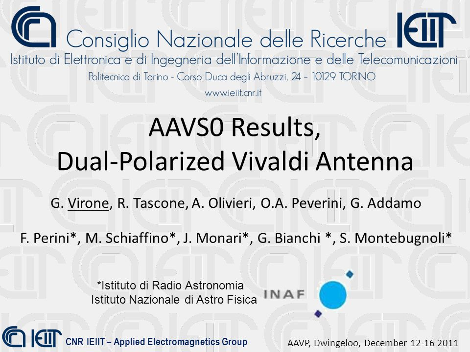 CNR IEIIT – Applied Electromagnetics Group AAVP, Dwingeloo, December 12-16 2011 AAVS0 Results, Dual-Polarized Vivaldi Antenna G. Virone, R. Tascone, A