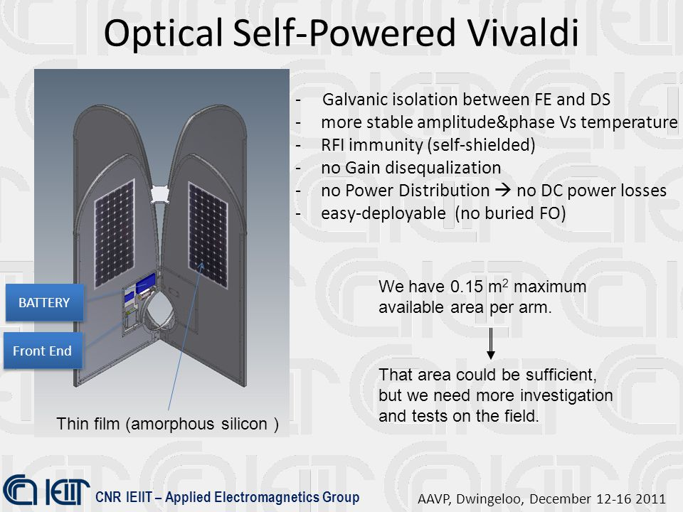 CNR IEIIT – Applied Electromagnetics Group AAVP, Dwingeloo, December 12-16 2011 Optical Self-Powered Vivaldi BATTERY - Galvanic isolation between FE and DS -more stable amplitude&phase Vs temperature -RFI immunity (self-shielded) -no Gain disequalization -no Power Distribution  no DC power losses -easy-deployable (no buried FO) Front End That area could be sufficient, but we need more investigation and tests on the field.