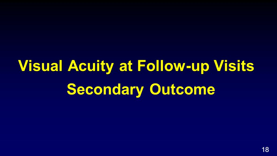 Visual Acuity at Follow-up Visits Secondary Outcome 18