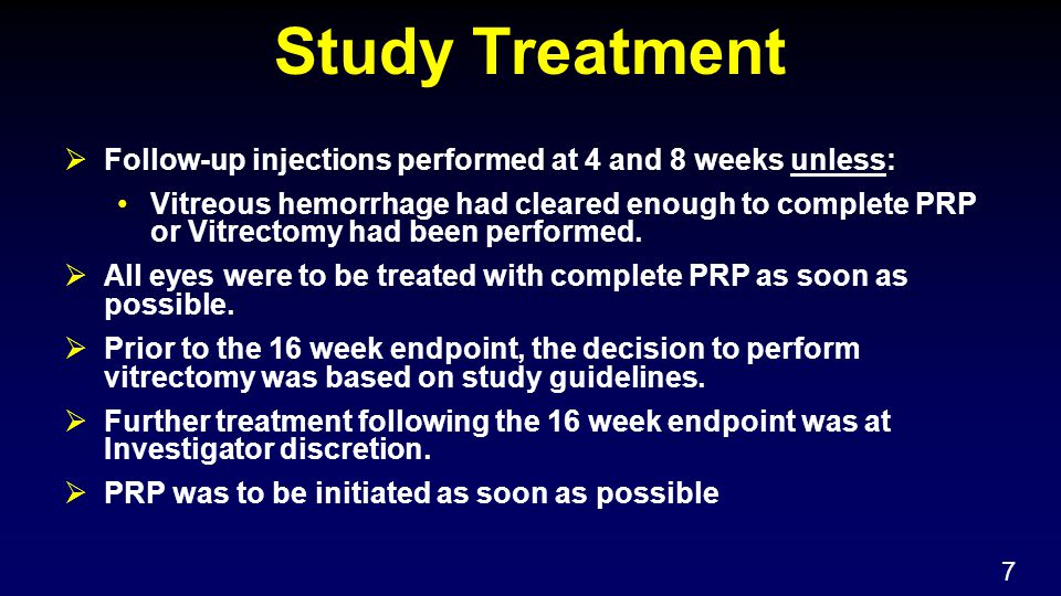 Study Treatment  Follow-up injections performed at 4 and 8 weeks unless: Vitreous hemorrhage had cleared enough to complete PRP or Vitrectomy had been performed.