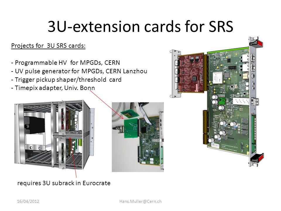 SRS Rack environment DTC links (CAT6) Connect 40 FECs to 1 SRU Max 92 k channels / Rack 16/04/2012Hans.Muller@Cern.ch