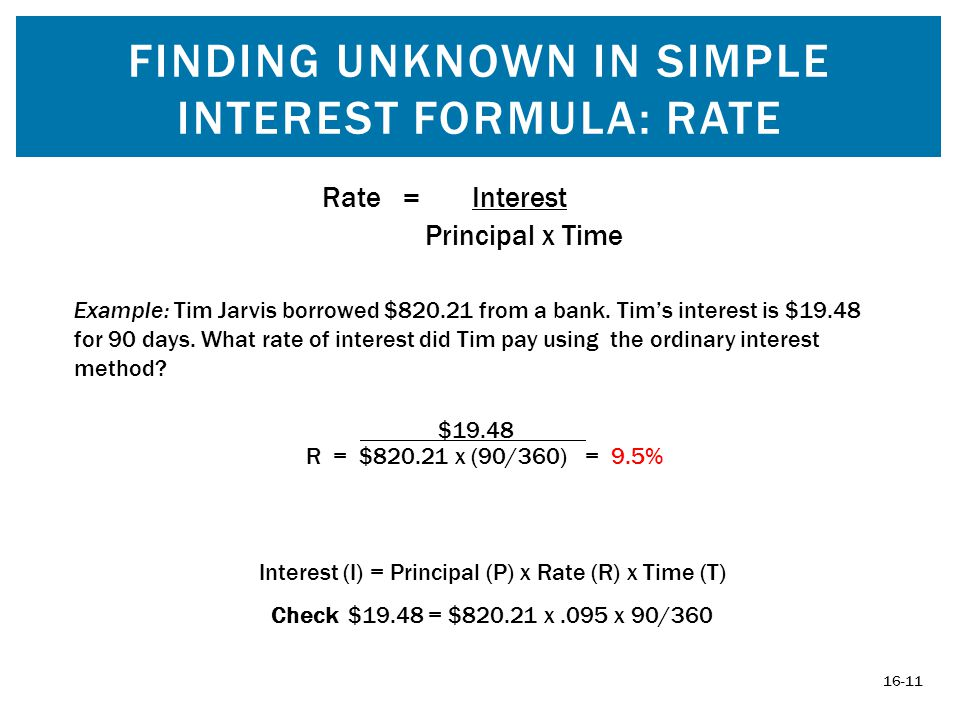 FINDING UNKNOWN IN SIMPLE INTEREST FORMULA: RATE 16-11 Interest (I) = Principal (P) x Rate (R) x Time (T) Check $19.48 = $820.21 x.095 x 90/360 Rate = Interest Principal x Time Example: Tim Jarvis borrowed $820.21 from a bank.