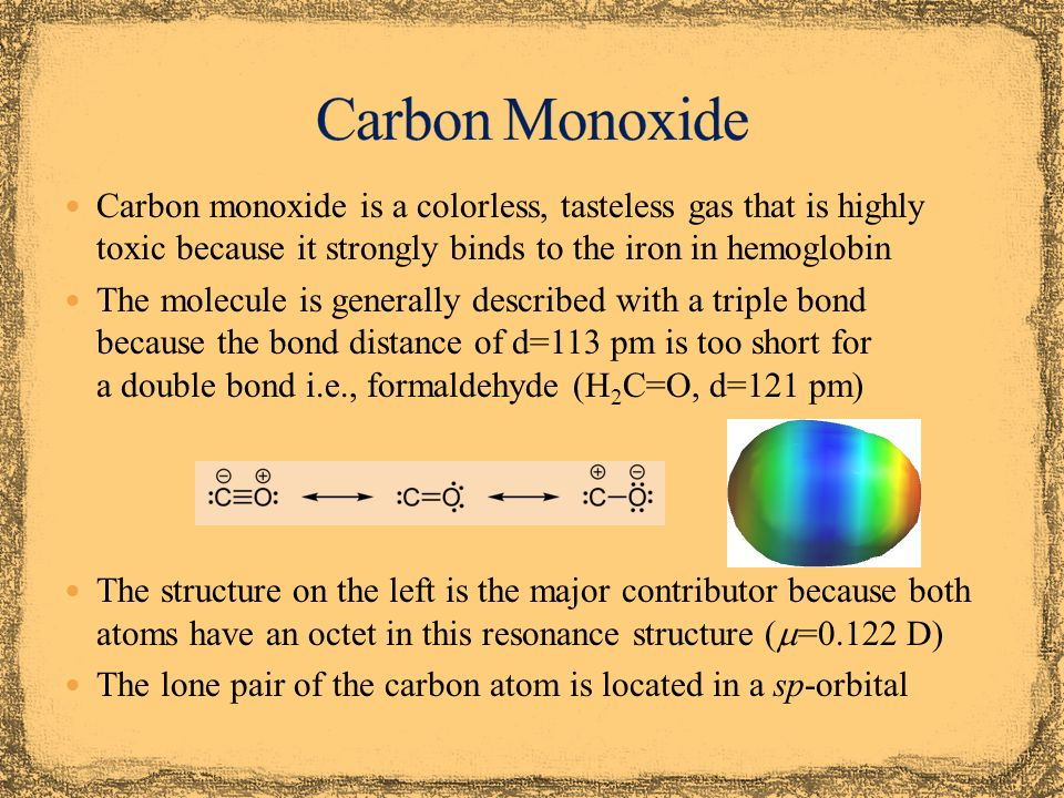 The CO ligand usually binds via the carbon atom to the metal The lone pair on the carbon forms a  -bond with a suitable d-orbital of the metal (i.e., d (x 2 -y 2 ) ) The metal can form a  -backbond via the  *-orbital of the CO ligand (i.e., d (xy) ) Electron-rich metals i.e., late transition metals in low oxidation states are more likely to donate electrons for the backbonding A strong  -backbond results in a shorter the M-C bond and a longer the C-O (II) bond due to the population of an anti- bonding orbital in the CO ligand (see infrared spectrum) xy-plane