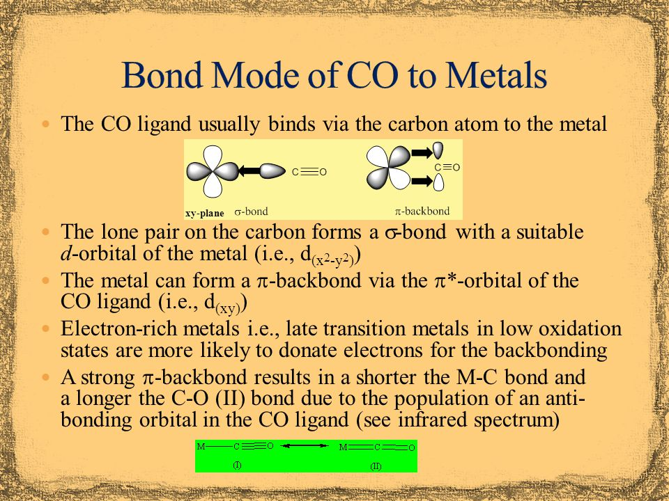 Some compounds can be obtained by direct carbonylation of a metal at room temperature or elevated temperatures In other cases, the metal has to be generated in-situ by reduction of a metal halide or metal oxide Many polynuclear metal carbonyl compounds can be obtained using photochemistry which exploits the labile character of many M-CO bonds