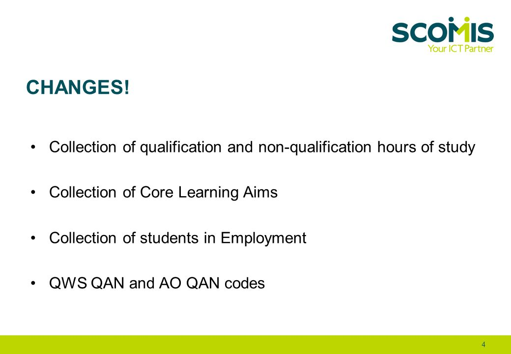CHANGES! Collection of qualification and non-qualification hours of study Collection of Core Learning Aims Collection of students in Employment QWS QA
