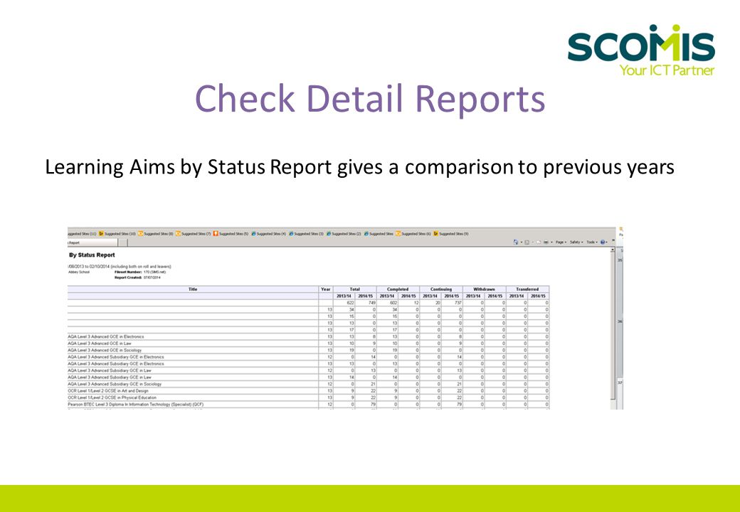 Check Detail Reports Learning Aims by Status Report gives a comparison to previous years
