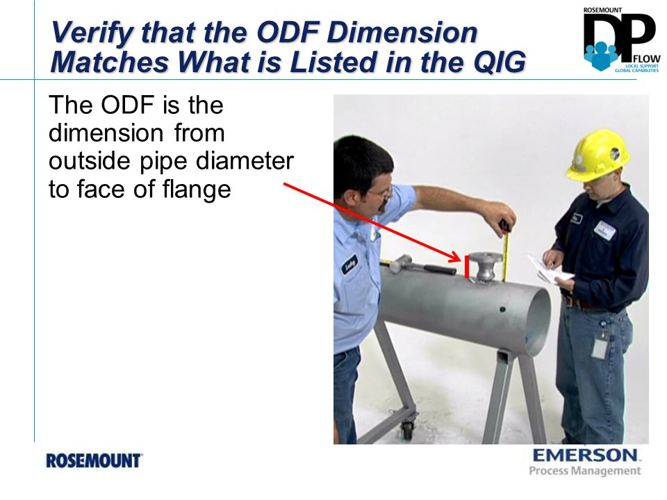 Verify that the ODF Dimension Matches What is Listed in the QIG The ODF is the dimension from outside pipe diameter to face of flange