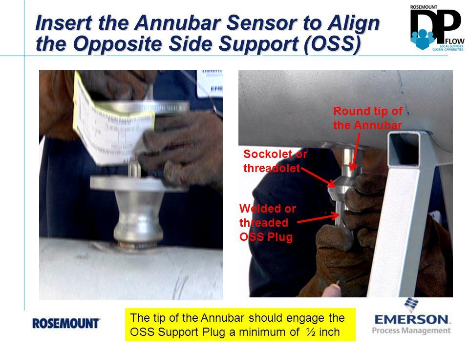 Insert the Annubar Sensor to Align the Opposite Side Support (OSS) Round tip of the Annubar Sockolet or threadolet Welded or threaded OSS Plug The tip