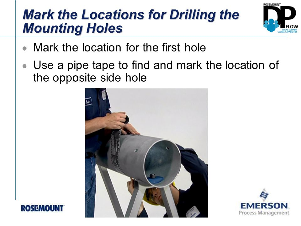 Drill the Holes into the Pipe Using a Drill Bit or Hole Saw Tag with correct drill hole size attached to the Annubar The mounting holes must be 180° degrees apart to ensure
