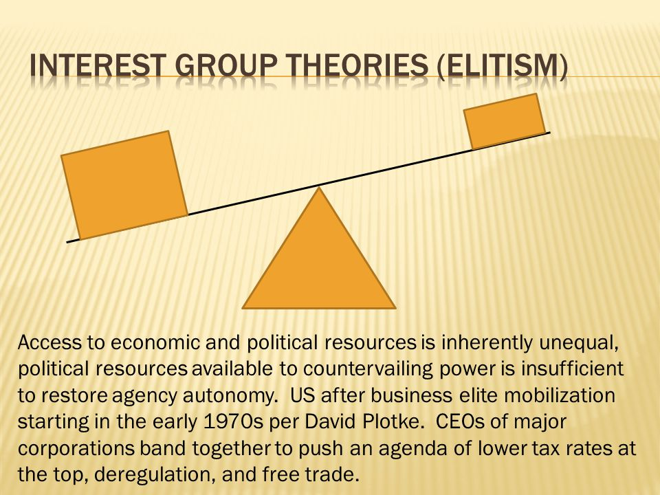 Access to economic and political resources is inherently unequal, political resources available to countervailing power is insufficient to restore age