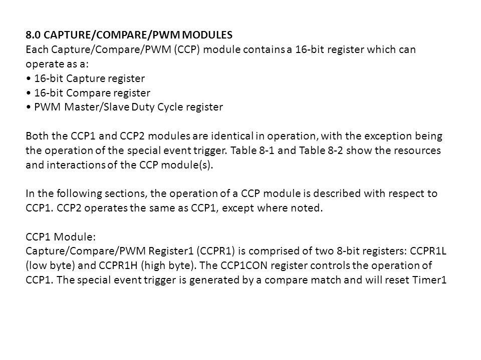 8.0 CAPTURE/COMPARE/PWM MODULES Each Capture/Compare/PWM (CCP) module contains a 16-bit register which can operate as a: 16-bit Capture register 16-bi