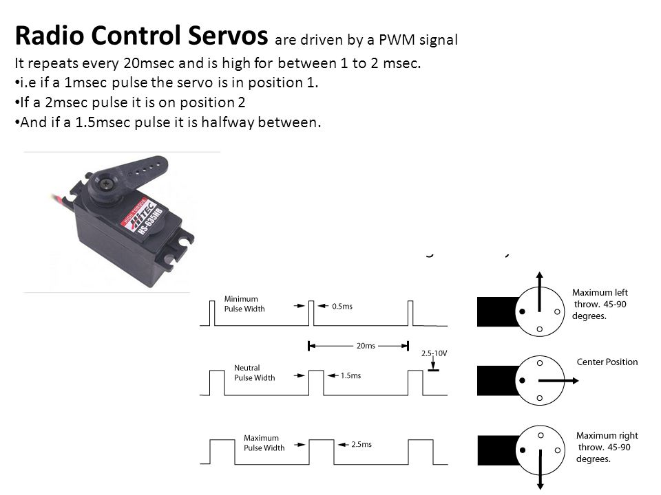 Radio Control Servos are driven by a PWM signal It repeats every 20msec and is high for between 1 to 2 msec. i.e if a 1msec pulse the servo is in posi