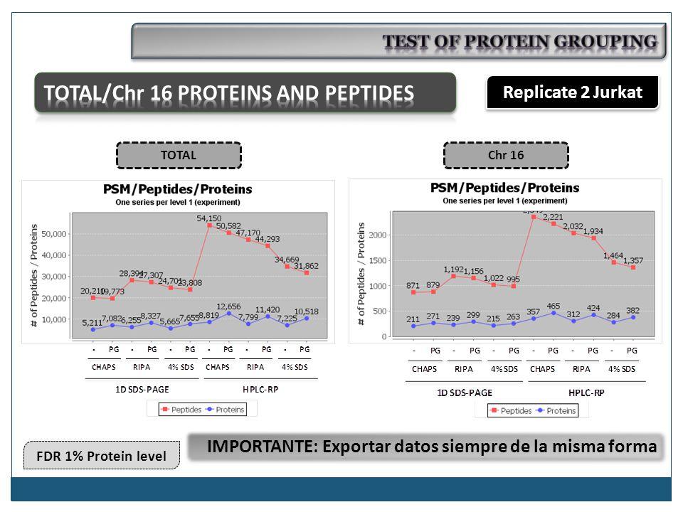 FDR 1% Protein level Replicate 2 Jurkat TOTALChr 16 IMPORTANTE: Exportar datos siempre de la misma forma