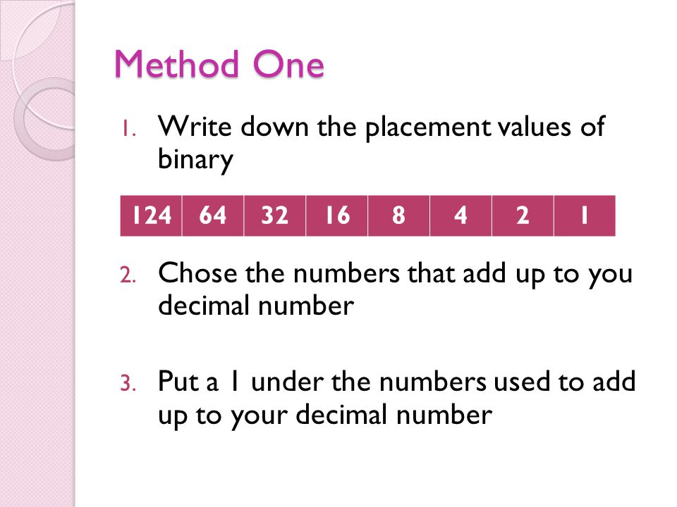 Method One 1. Write down the placement values of binary 2. Chose the numbers that add up to you decimal number 3. Put a 1 under the numbers used to ad