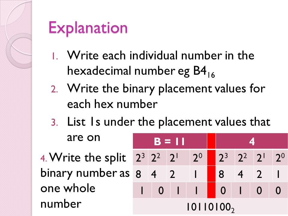 Explanation 1. Write each individual number in the hexadecimal number eg B4 16 2. Write the binary placement values for each hex number 3. List 1s und