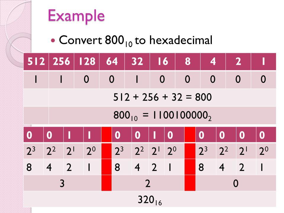 Example Convert 800 10 to hexadecimal 5122561286432168421 1100100000 512 + 256 + 32 = 800 800 10 = 1100100000 2 001100100000 23232 2121 2020 23232 212