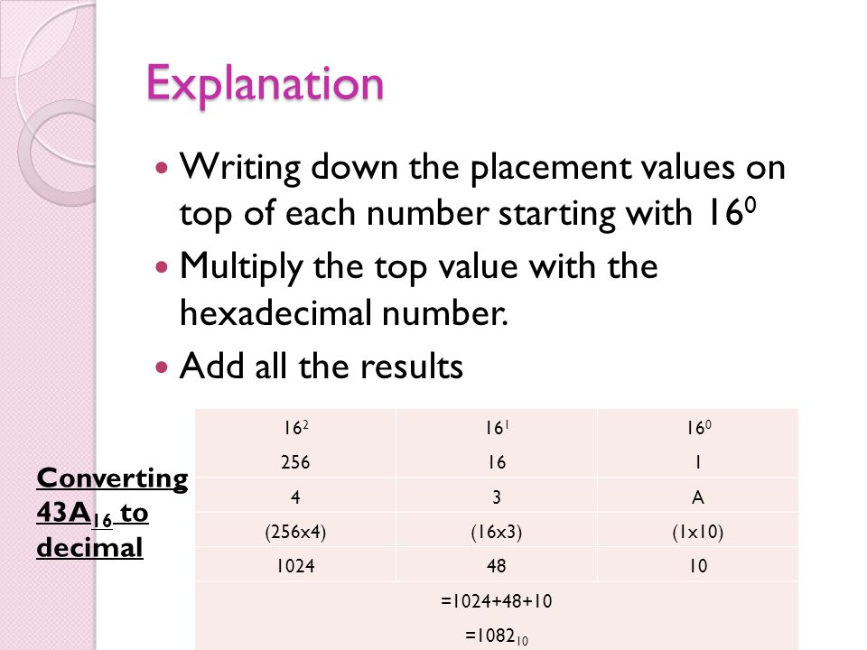 Explanation Writing down the placement values on top of each number starting with 16 0 Multiply the top value with the hexadecimal number. Add all the