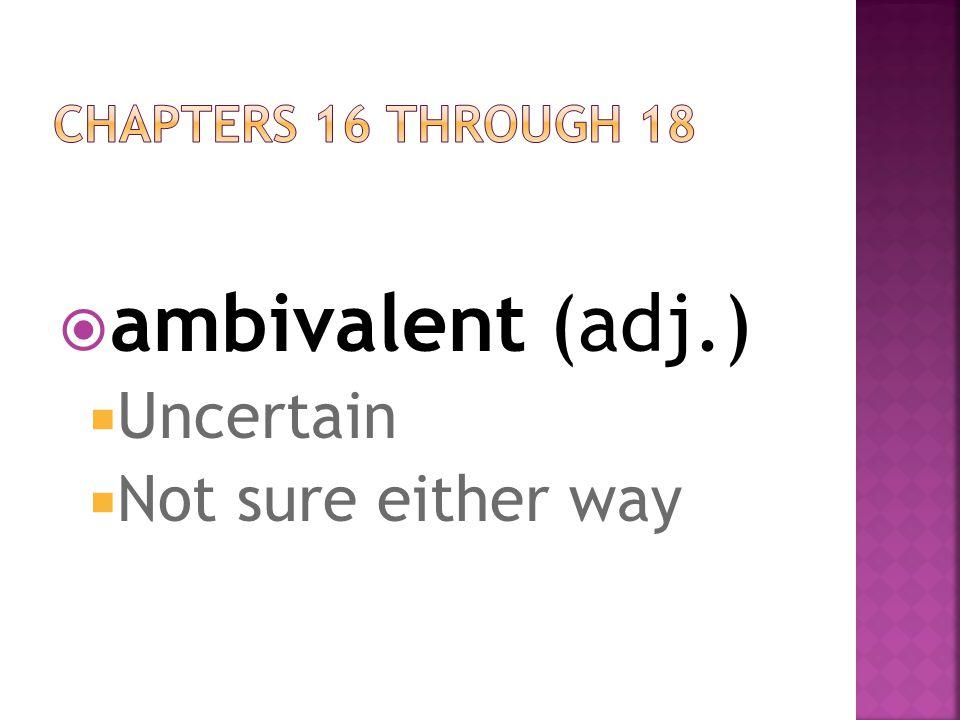 ambivalent (adj.)  Uncertain  Not sure either way