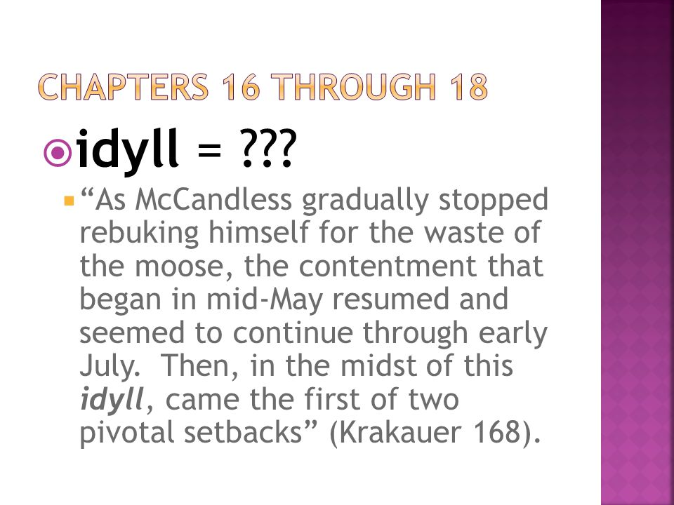 """ idyll = ???  """"As McCandless gradually stopped rebuking himself for the waste of the moose, the contentment that began in mid-May resumed and seemed"""