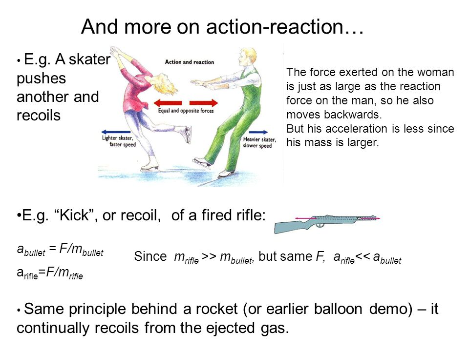 And more on action-reaction… a bullet = F/m bullet a rifle =F/m rifle Since m rifle >> m bullet, but same F, a rifle << a bullet Same principle behind