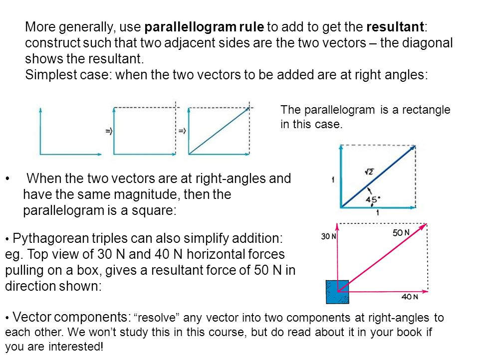 When the two vectors are at right-angles and have the same magnitude, then the parallelogram is a square: Pythagorean triples can also simplify addition: eg.