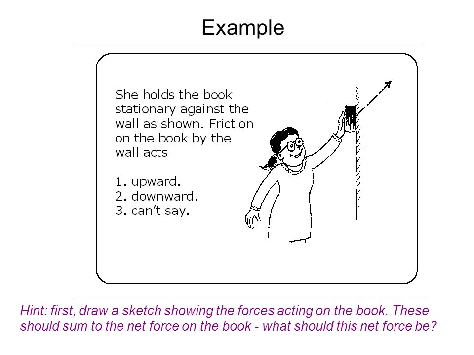 Hint: first, draw a sketch showing the forces acting on the book. These should sum to the net force on the book - what should this net force be? Examp