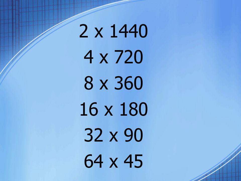 2 x 1440 4 x 720 8 x 360 16 x 180 32 x 90 64 x 45