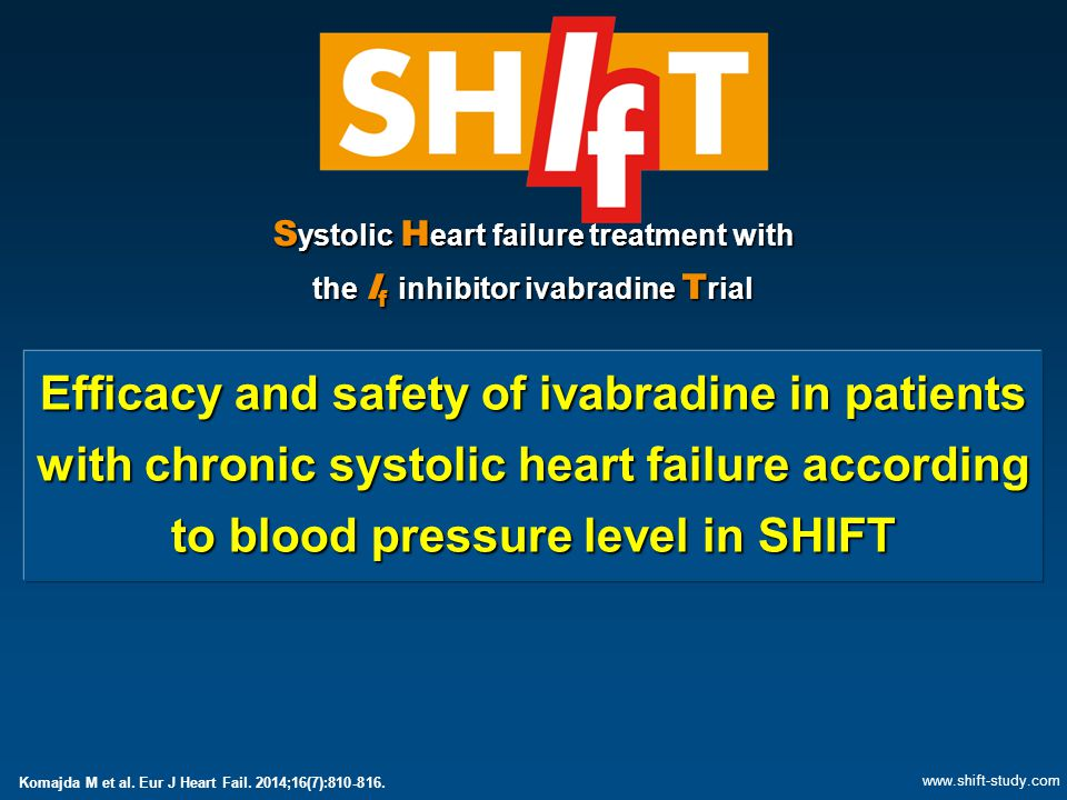 S ystolic H eart failure treatment with the I f inhibitor ivabradine T rial Efficacy and safety of ivabradine in patients with chronic systolic heart failure according to blood pressure level in SHIFT www.shift-study.com Komajda M et al.