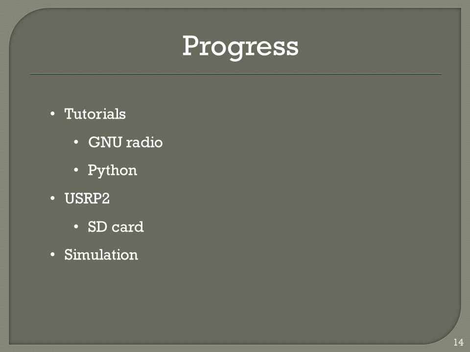 14 Progress Tutorials GNU radio Python USRP2 SD card Simulation