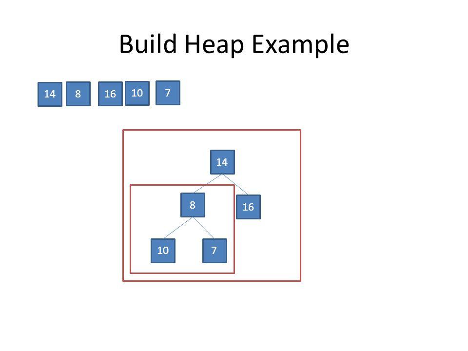 Build Heap Example 16 14 10 8 7 14 8 16 107